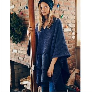 Free People brookside Oversized poncho OS